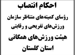 Photo of رؤسای «کمیته های ورزش های تفریحی و رقابتی» ورزش های همگانی استان گلستان معرفی شدند